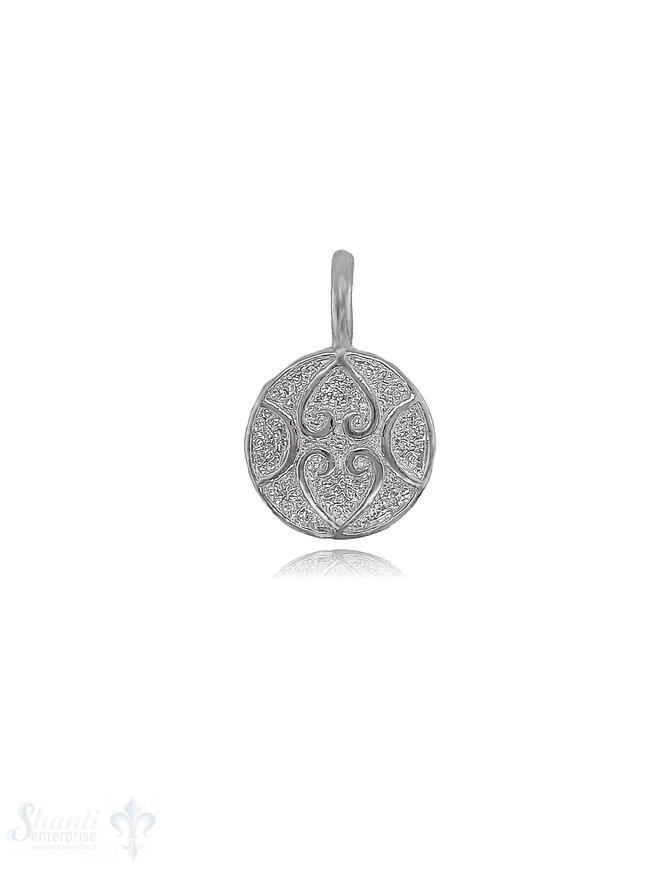 Amulett Anhänger 17 mm mit Herzen verziert leicht bauchig Oese fix Silber hell 925