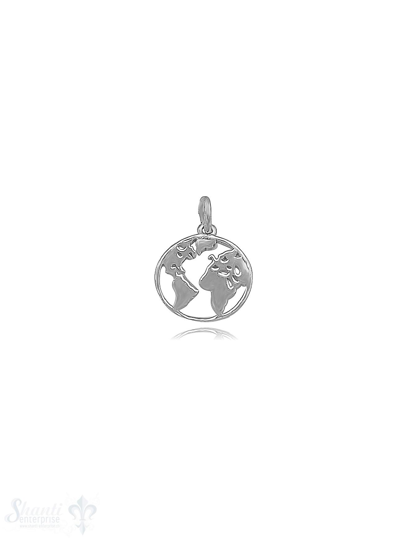 Anhänger Silber Weltkugel im Kreis 12 mm poliert