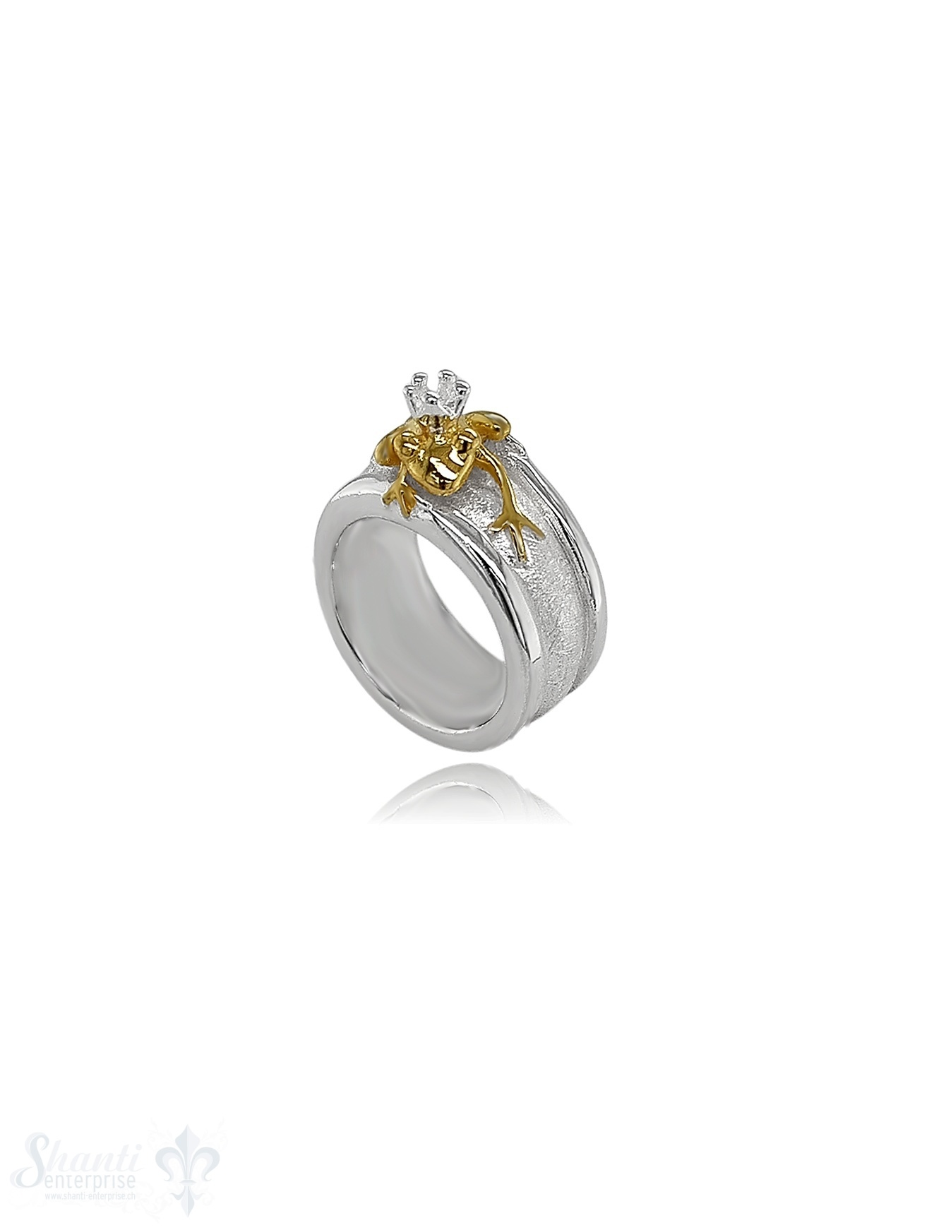 Silberring Frosch in Gold schmal
