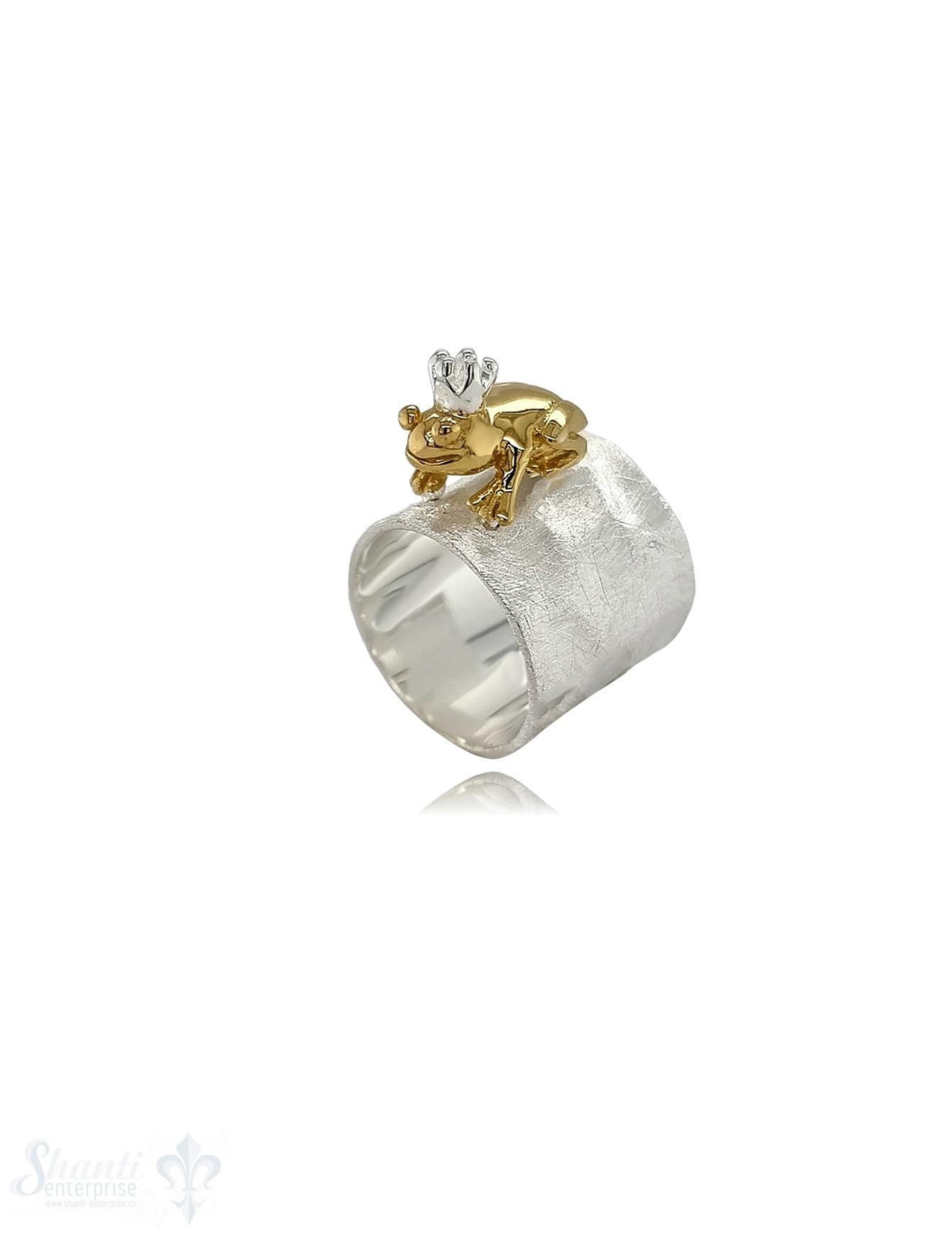 Silberring Frosch in Gold breit