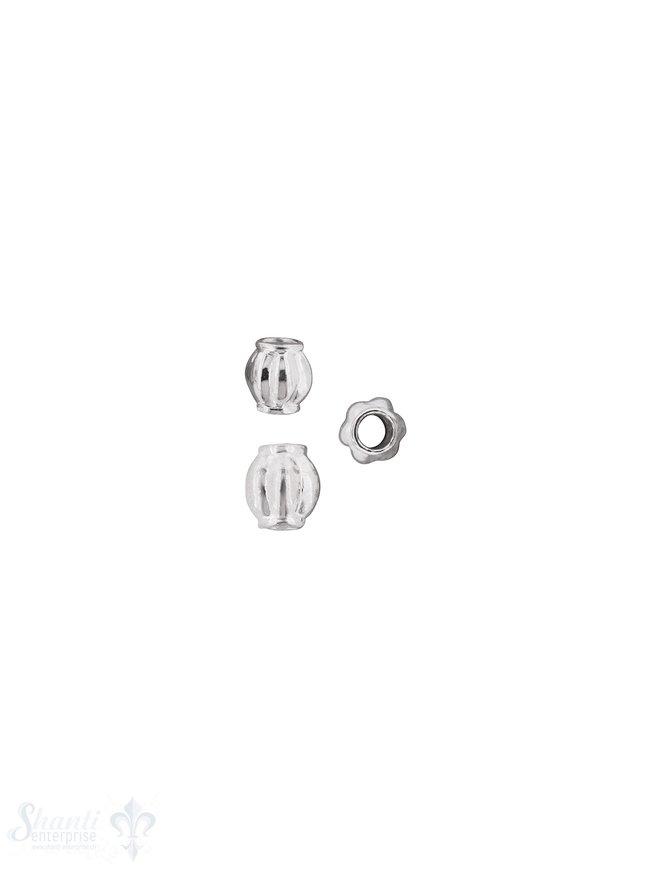 Kugel Element bauchig gerillt mit Rand Silber 925 hell