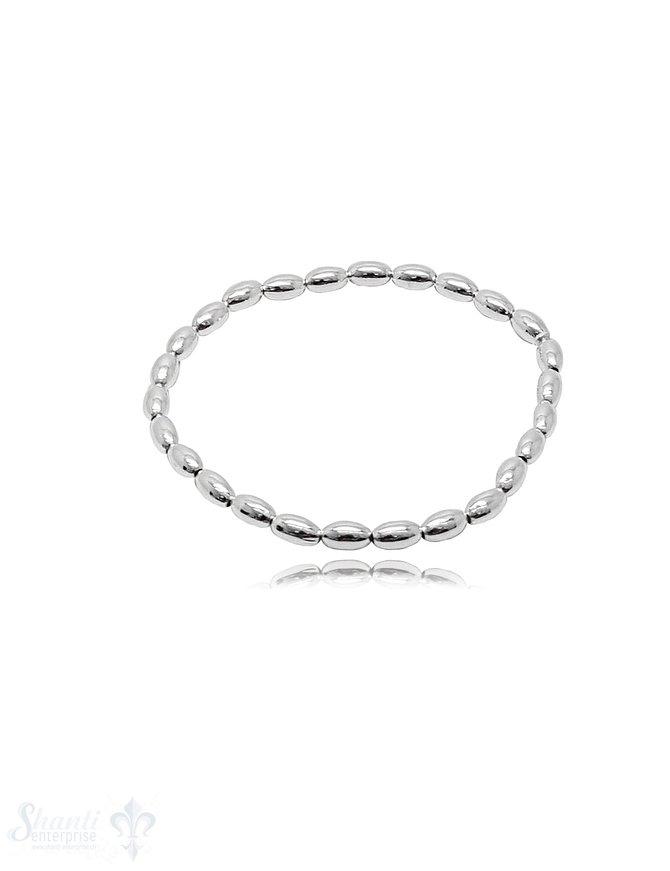 Elastikarmband Silber 925  Navette poliert