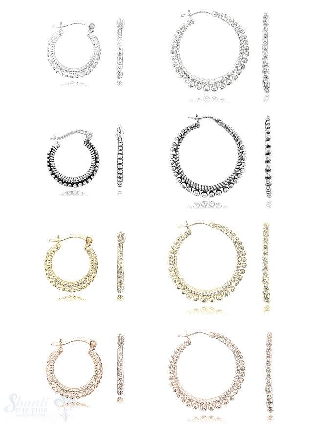 Creolen Ohrhänger seitlich verziert flach mit Klick-Verschluss Silber 925