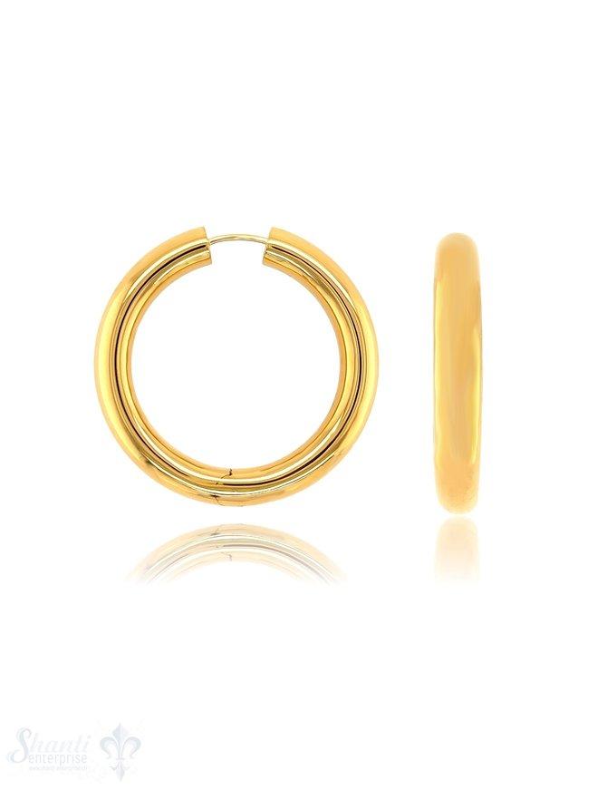 Creolen Silber 6,5 mm breit mit Steck-Verschluss eq