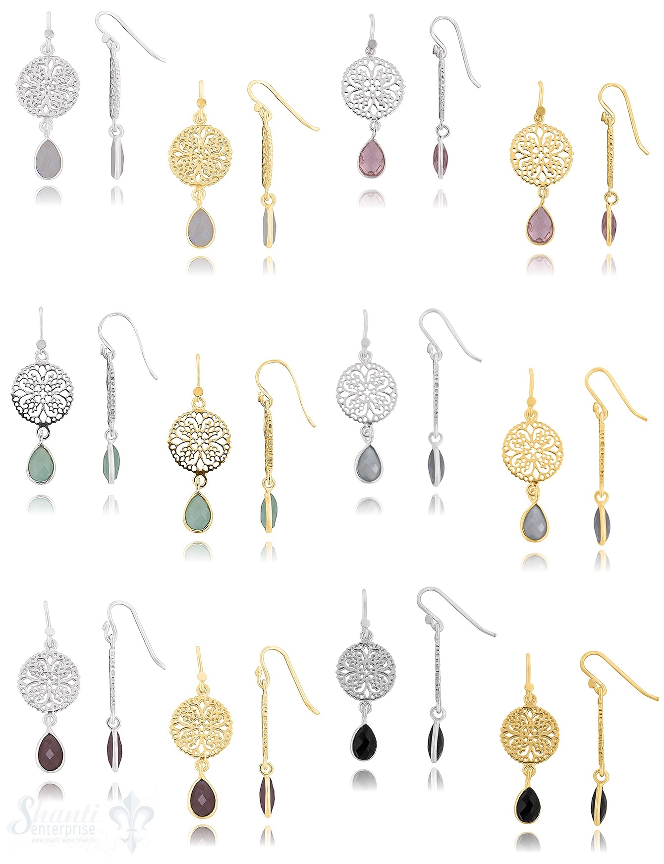 Ohrhänger Silber 925 mit Amulett 30x14mm und facettiert Stein ec