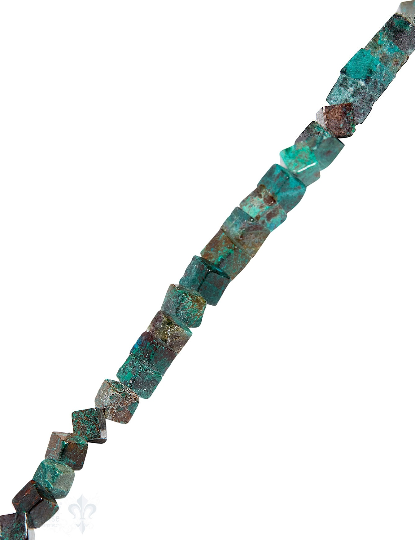 Chrysokoll Strang grün-blau poliert Würfel quer