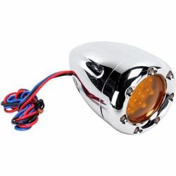 Tiefer Blinker mit Feuerring LEDs Chrom