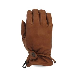 GRÖSSE L: Leder Old School Handschuhe Braun