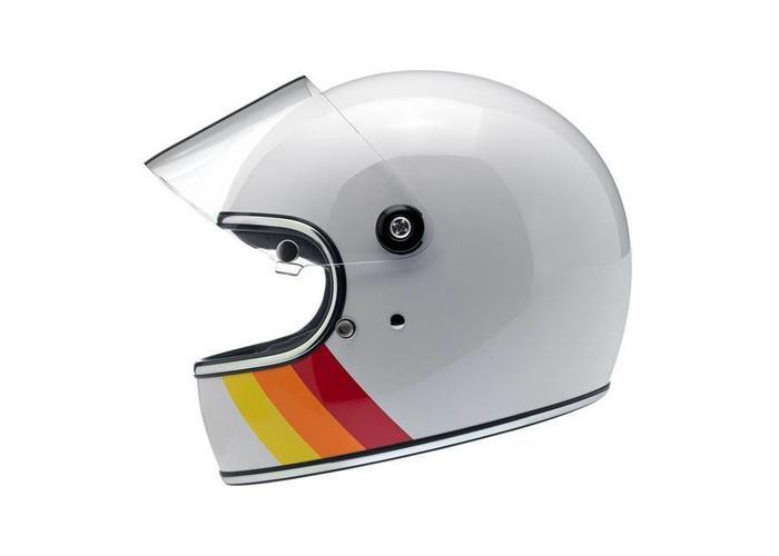 Biltwell Gringo S Helm White Tri-Stripe