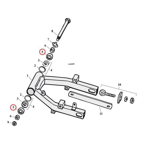 James, wiel / Swingarm Keerring, rubber