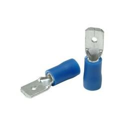 Kit de cosses - 50 pièces mâles plats // 2.5 => 6.3 - Bleu