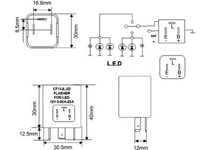 MCU Richtingaanwijzer LED-relais CF14 JL-02