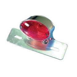 Cat Eye Chrome Tail Light with Plate Holder