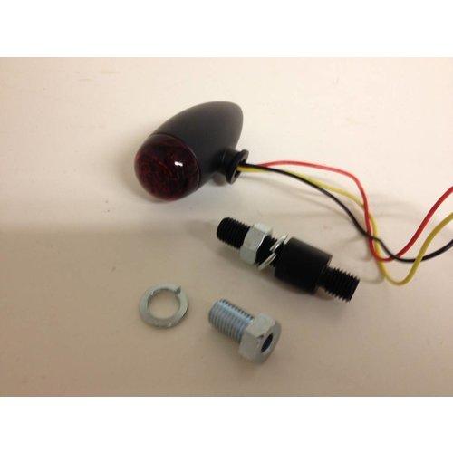 LED MICRO-BULLET-achterlicht, zwart, RODE lens