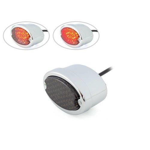 Metaal Ovaal Achterlicht (smoke rood,chroom)