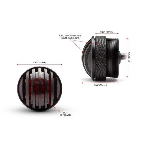 """1,65 """"Mattschwarz Mini Unterputz CNC Billet Alum Prison LED Stop / Rücklicht"""