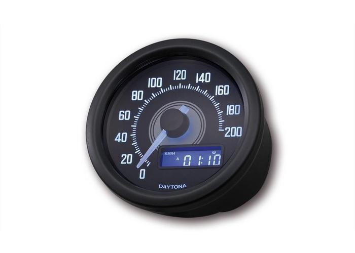 Daytona 60MM Velona Kilometerteller 200 km/h Zwart
