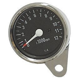1:4 Tachometer 12K Black/Chrome