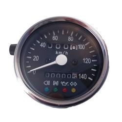 1:4 Tachometer 4 Anzeigelampen Schwarz/Chrom