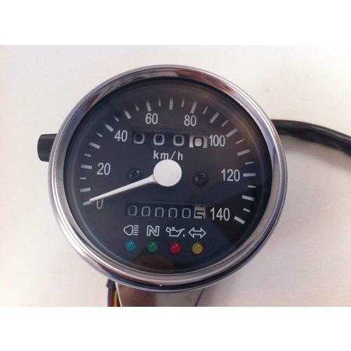MCU 1:4 Tachometer 4 Anzeigelampen Schwarz/Chrom