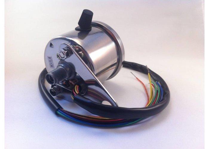 MCU 1:4 Kilomterteller 4 functie lampjes  Zwart/Chrome