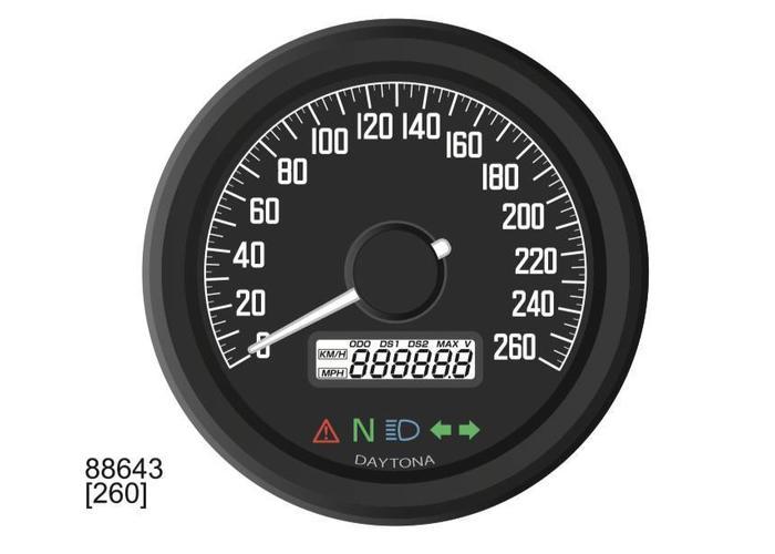Daytona 60MM Velona Kilometerteller 260 km/h