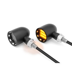 Mini clignotants contrastés DERBY noirs à LED - usinage CNC