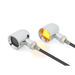 Mini clignotants DERBY chromés classiques à LED - usinage CNC