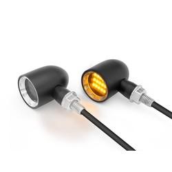 DERBY Schwarz + Natural CNC bearbeitete klassische Mini-LED-blinker