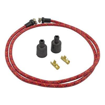 Lowbrow Customs Câble d'allumage tressé 7 MM rouge