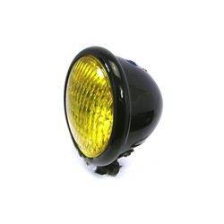 "4.75"" Chopper Headlight ""Bates Style"" Black & Yellow"