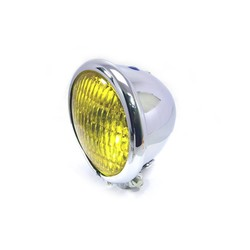 "4.75"" Chopper Headlight ""Bates Style"" Chrome & Yellow"
