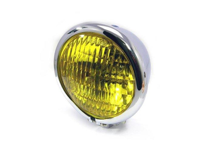 """4.75"""" Chopper Koplamp """"Bates Style"""" Chrome & Yellow"""
