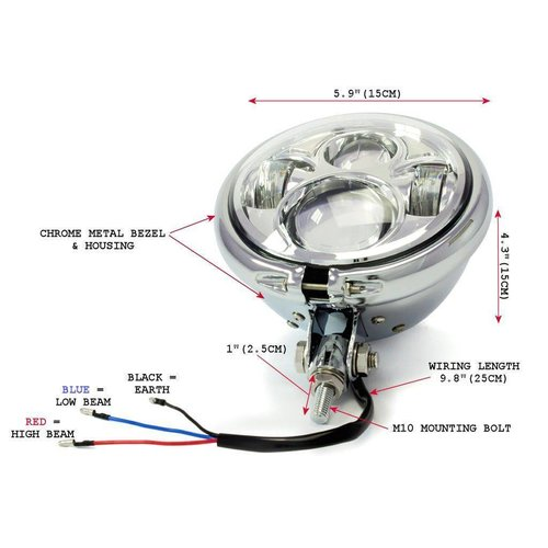 """5,75 """"CREE QUAD LED Bates Style Koplamp Bottom Mount Chrome"""