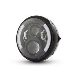 "7"" Multi LED Koplamp met Knipperlichten Zwart Type 2"
