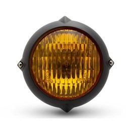 "5.5"" Vintage Headlight Bottom Mount Black / Yellow"