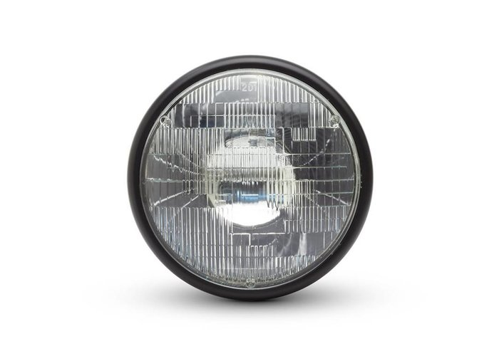 "7 ""Matzwarte Shorty Metalen Koplamp - 12v / 55w Sealed Beam"
