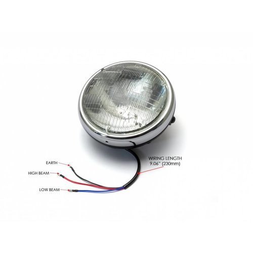 """7 """"Chrome/Zwart Shorty metalen koplamp - 12v / 55w sealed beam"""