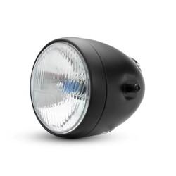 "5 3/4 ""Vintage stijl zwart metalen motorfiets koplamp met geïntegreerde digitale GPS snelheidsmeter"