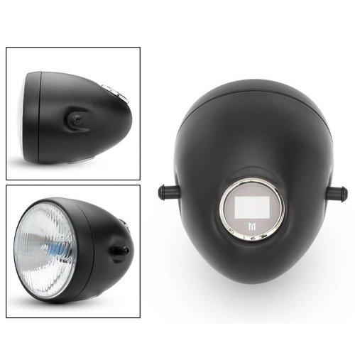 """5 3/4 """"Vintage stijl zwart metalen motorfiets koplamp met geïntegreerde digitale GPS snelheidsmeter"""