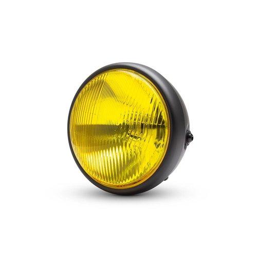 "7.7 ""Klassieke matzwarte koplamp - gele lens"