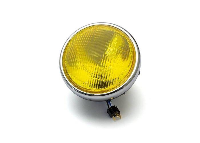 """7.7 """"Klassieke Chrome / Black koplamp - gele lens"""