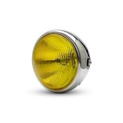 """7"""" Bobber koplamp Chrome - gele lens"""