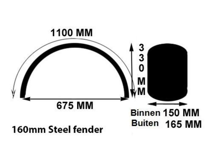 MCU Staal Spatbord Bobber 160 mm - Zwart
