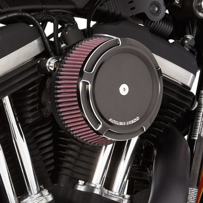 Arlen Ness Black Big Sucker™  Stage 1 Synthetic Air Filter Kit Black Beveled