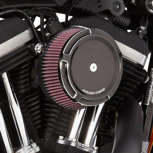 Arlen Ness Black Big Sucker ™ Stage 1-kit voor synthetische luchtfilter Black Beveled