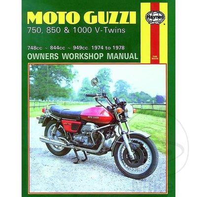 Haynes Repair Manual MOTO GUZZI 750, 850 & 1000 V-TWINS 1974 - 1978