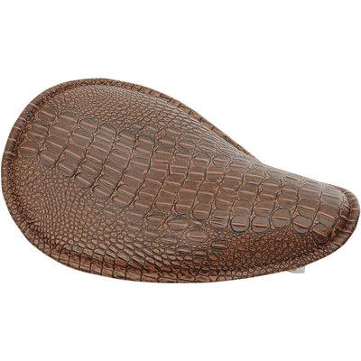Drag Specialties Klein veer zadel laag-profiel alligator leer bruin