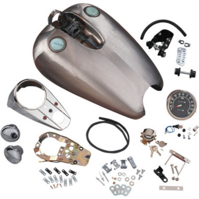 Drag Specialties 13,6 liter Quickbob extended Dash-Style Rubber-Mount Tank Kit XL 92-94