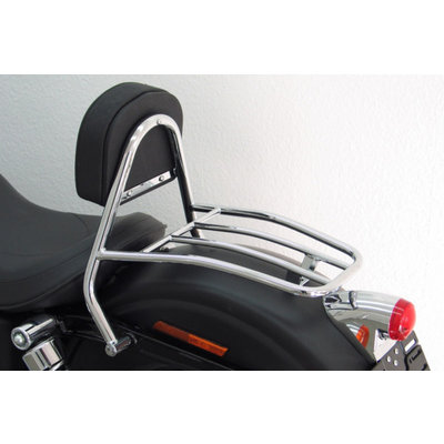 Fehling Driver Sissy Bar with backrest and luggage rack, H-D Dyna Street Bob 09-